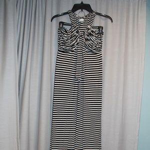 Black and White stripe Calvin Klein maxi dress
